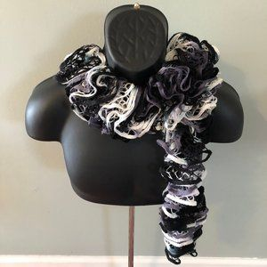 Wild Puffy Winter Scarf Ski Snow Wrap Purple Black